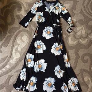 Black & White Floral Faux Wrap Maxi Dress